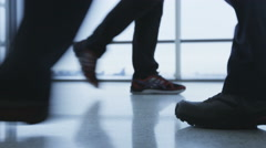 Walking people feet and shoes in airport - Business people and travellers Stock Footage