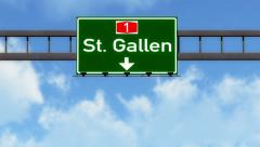 4K Passing St Gallen Switzerland Highway Road Sign with Matte 2 stylized Stock Footage