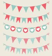 Cute bunting set baby pastel red and green for scrapbook with hearts Stock Illustration