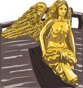 vector rostrum golden sculpture of an angel - stock illustration