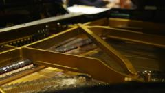 Moving mechanical hammers inside the piano. The mechanism of the piano. Dolly pa Stock Footage