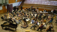Orchestra rehearsal in the recording studio. Out of focus - stock footage