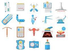 Flat design icons collection of gynecology - stock illustration
