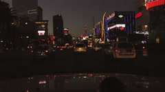 4K UHD Las Vegas Strip north dusk Monte Carlo  Hollywood Hard Rock Cafe Aria 3 Stock Footage