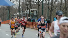 Boston Marathon Runners Trolley 2015 Stock Footage