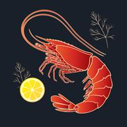 Shrimp with lemon and dill Stock Illustration