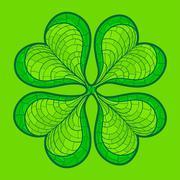 Decorative lucky clover leaf - stock illustration