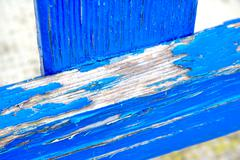 Blue woods that need to be repainted - stock photo