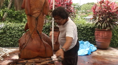 Wood Worker and his Sculpture in PALAU Stock Footage