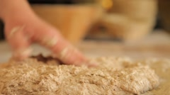 kneading the dough. mixing the flour with the yeast - stock footage