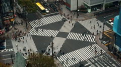 Aerial View Shibuya Crossing Tokyo Skyline Japan Traffic Crowds, Time Lapse Busy Stock Footage