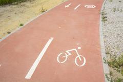 Segregated cycle facilities - stock photo
