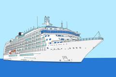cruise liner vector - stock illustration