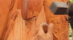 Wood Carver on Palau Stock Footage