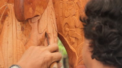 Wood Carving by Local Island Resident in PALAU Stock Footage