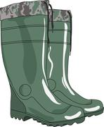 Green rubber boots vector - stock illustration