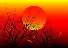 Stock Illustration of sunset nature background