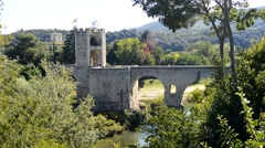 Medieval stone bridge, Besalu, Gerona, Spain Stock Footage