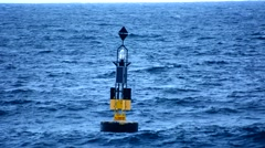 Buoy in the middle of the sea Stock Footage