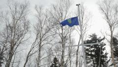 Alberta Canada Provincial flag  being Raised Stock Footage