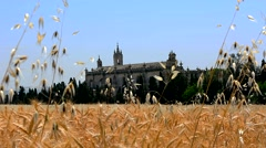 Image of a monastery above a wheat field, Jerez de la Frontera, Spain Stock Footage