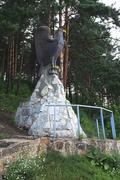 Sculpture of an eagle in the Sanatorium Belokuriha - stock photo