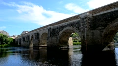 Medieval stone bridge over a river, Lugo, Spain Stock Footage