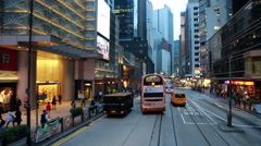 Stock Video Footage of Hong Kong island Tramway time lapse