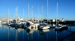 Luxury yachts in harbor, Puerto Sherry, Cadiz, Spain Stock Footage