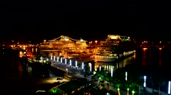 Cruise ship docked in harbor at night, Gran Canaria, Spain Stock Footage