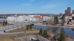 Aerial View Chaudiere Crossing To Quebec At Booth St, Ottawa Stock Footage