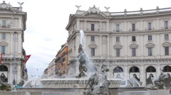 Fountain in the Plaza of the Republic. Rome, Italy. 4K Stock Footage