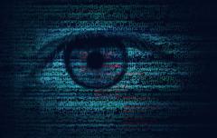 Web Program Code with Human Eye -  Concept Background - stock illustration