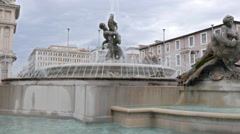Fountain in the square of the Republic. Rome, Italy. 4K Stock Footage