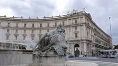 Plaza of the Republic, Fountain. Rome, Italy Stock Footage