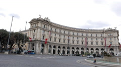 Fountain in Piazza of the Republic. Rome, Italy. 4K Stock Footage