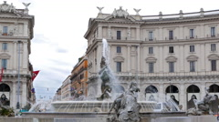 Plaza of the Republic. Rome, Italy. 4K Stock Footage