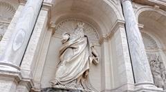 Sculpture Dell'ACqua Felice Fountain. Rome, Italy Stock Footage