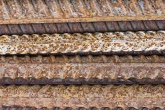 Close of rusty ribbed iron rod Stock Photos