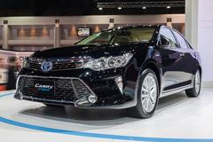 Toyota Camry Hybrid on displa - stock photo