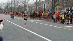 Female Runner Ponytail Boston Marathon 2015 - stock footage