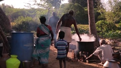 Indian people cooking outside - stock footage