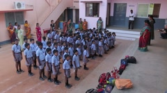 Group of Indian kids singing with their teachers Stock Footage