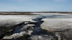 Water stream in-between the ice in Iceland Stock Footage