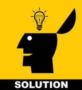 solution.show up your solution. OPEN YOUR HEAD - stock illustration