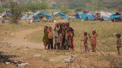 Group of Indian kids in a village - stock footage