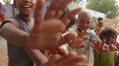 Indian kids waving - stock footage
