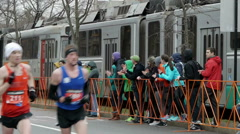 Pack of Runners and Trolley Boston 2015 - stock footage