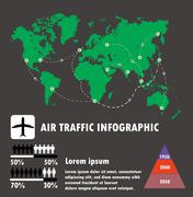 Airline traffic on world and infographic,air traffic vector - stock illustration