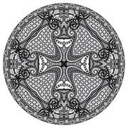 Circle lace ornament, round grey ornamental geometric doily patt Stock Illustration
